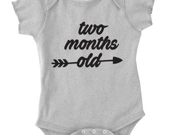 Two Month Old Birthday, Shirt Bodysuit New Born Birthday, Birthday Gift, Gift For Two Month Old Baby Onepiece One Piece Baby Shower, TH-401
