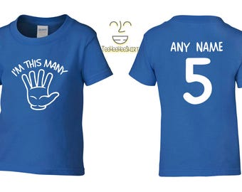 I'm This Many Five 5 Birthday Tshirt, Kids 5th Birthday Tshirt, Children's Birthday Tshirt, Gift for Child Birthday TH-344