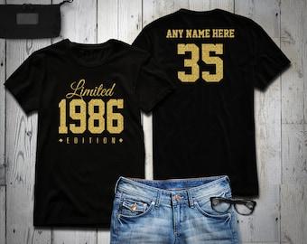 1986 Gold Glitter Limited Edition Birthday T-Shirt 35th Custom Name Celebration Gift mens womens ladies Shirt Tee Shirt Personalized