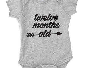 Twelve Month Old Birthday, Shirt Bodysuit New Born Birthday, Birthday Gift, Gift For 12 Month Old Baby one year Old 1 Baby Shower, TH-4011