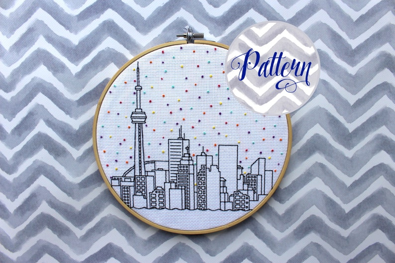 Hello Toronto Cross Stitch Pattern. Confetti City Skyline. image 0