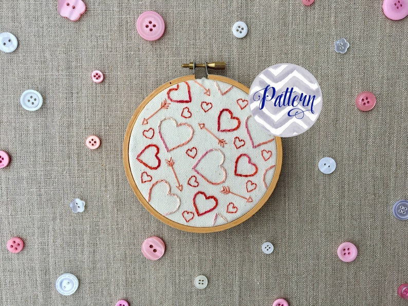 Hearts and Arrows Hand Embroidery Pattern Instant Digital PDF image 0