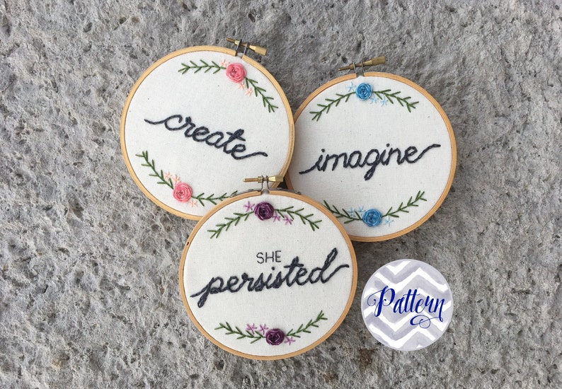 Hand Embroidery Pattern Downloadable Set of Three. Create. image 0