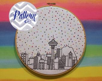 Hello Seattle Cross Stitch Pattern. Confetti City Skyline. Blackwork Cityscape. Digital PDF Pattern. Housewarming. Space Needle. Seahawks.