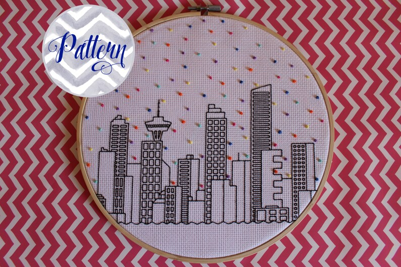 Hello Vancouver Cross Stitch Pattern. Confetti City Skyline. image 0