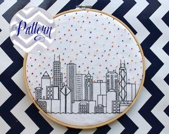 Hello Chicago Cross Stitch Pattern. Cubs. Confetti City Skyline. Cityscape. Digital PDF Pattern. Blackwork. Housewarming. Bears.