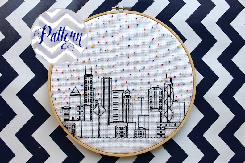 Hello Chicago Cross Stitch Pattern. Cubs. Confetti City image 0