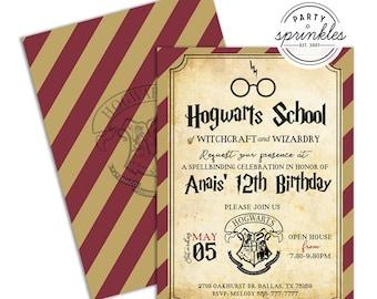 Editable Harry Potter Inspired Birthday Party Invitation - Wizard Invitation, Harry Potter Party Printables decor, Harry Potter School