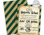 editable slytherin harry potter inspired birthday party invitation wizard invitation party printables decor harry potter school