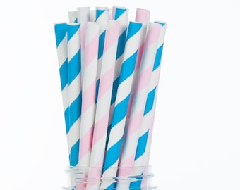 Blue and Pink Paper Straws Set of 24 - Gender Reveal Party, Blue and Pink Party decor, boy or girl  (PREMIUM quality!)