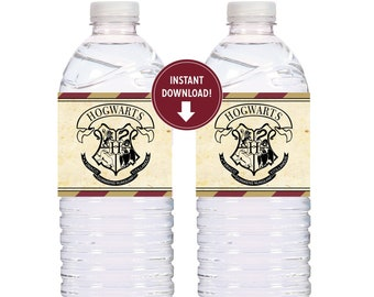 Wizards Harry Birthday Party Water labels Potter, Bottle labels Party favors