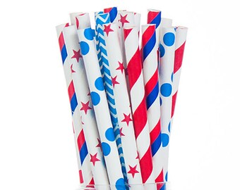 Patriotic 4th Fourth of July  Paper Straws - Red Blue & White - Dots Stars Stripes -  Set of 25 - Birthday, BBQ - Party Supplies
