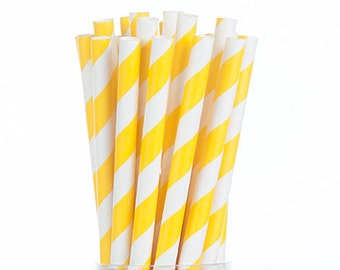Yellow Stripes Paper Straws  Set of 25 - Birthday Wedding Bridal Shower - Party Supplies & Decor (PREMIUM quality!)