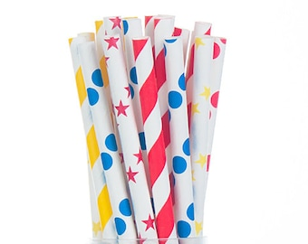 Carnaval Circus Paper Straws Mix - Red Blue & Yyellow - Dots Stars Stripes -  Set of 25 - Birthday - Party Supplies