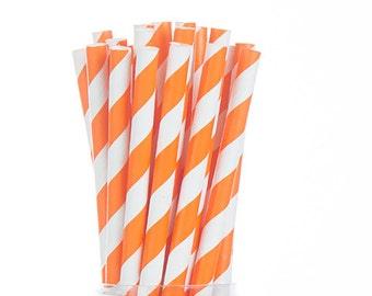 Orange Stripes Paper Straws  Set of 25 - Birthday Wedding Bridal Shower - Party Supplies & Decor (PREMIUM quality!)