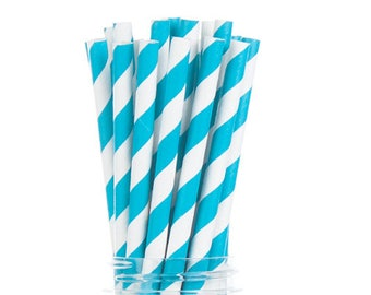 Teal Turquoise Stripes Paper Straws  Set of 25 - Birthday, Wedding, Bridal Shower, baby shower - Party Supplies & Decor (PREMIUM quality!)