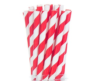 Bright Red Stripes Paper Straws  Set of 25 - Kids Birthday - Party Supplies & Decor (PREMIUM quality!)