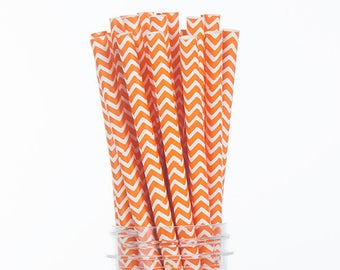 Orange Chevron Paper Straws  Set of 25 - Birthday Wedding Bridal Shower - Party Supplies & Decor (PREMIUM quality!)