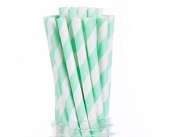 Mint green stripes Paper Straws  Set of 25 - Kids Birthday, wedding - Party Supplies & Decor (PREMIUM quality!)
