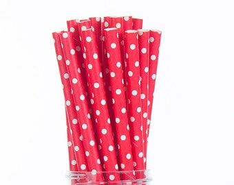Bright Red Paper Straws -  Swiss Tiny Dots  Set of 25 - Birthday Wedding Bridal Shower - Party Supplies & Decor (PREMIUM quality!)