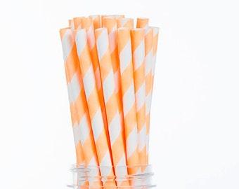 Neon Orange Stripes Paper Straws  Set of 25 - Birthday Wedding Bridal Shower - Party Supplies & Decor (PREMIUM quality!)