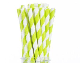 Lime Green Stripes Paper Straws  Set of 25 - Birthday Wedding Bridal Shower - Party Supplies & Decor (PREMIUM quality!)