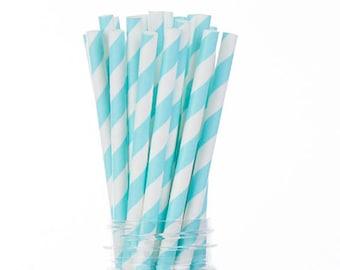 Light Blue Paper Straws  Set of 25 - Birthday, boy baby shower, Bridal Shower - Party Supplies & Decor (PREMIUM quality!)