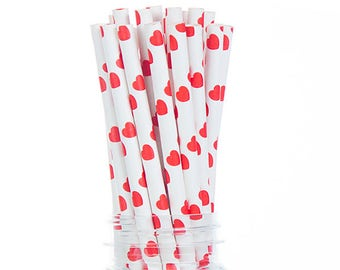 Romantic Red Hearts Paper straws  - Set of 25 - Birthday Party Supplies & Decor (PREMIUM quality!)