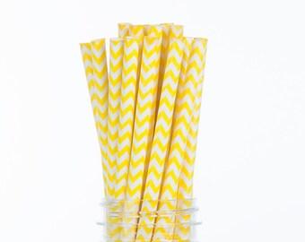 Yellow Chevron Paper Straws  Set of 25 - Birthday, baby shower, Bridal Shower - Party Supplies & Decor (PREMIUM quality!)