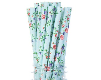 Vintage Floral Blue and Red Paper Straws -  (PREMIUM quality!) Tea Party, Bridal Shower, Birthday party