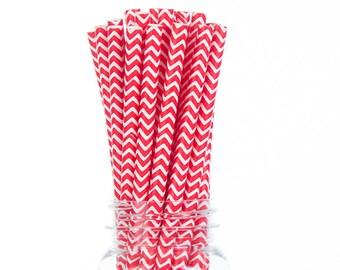 Red Chevron Paper Straws  Set of 25 - Kids Birthday, wedding - Party Supplies & Decor (PREMIUM quality!)