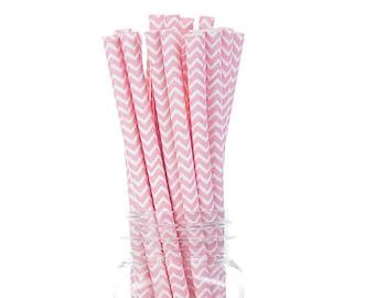 Chevron Light Pink Paper Straws - Set of 25- - Baby shower, Birthday, Bridal shower, wedding (Premium quality)