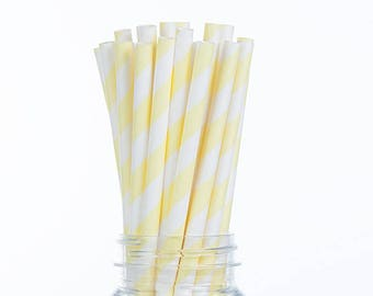 Light Yellow Stripes Paper Straws  Set of 25 - Birthday Wedding Bridal Shower - Party Supplies & Decor (PREMIUM quality!)