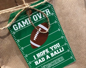 Football Sports Thank you note tags for Favor boxes & bags - Football party decor, gift tags, labels - (Editable File)