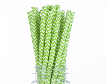 Lime Green Chevron Paper Straws  Set of 25 - Kids Birthday, wedding - Party Supplies & Decor (PREMIUM quality!)