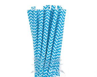 Blue Chevron Paper Straws  Set of 25 - Birthday, boy baby shower, Bridal Shower - Party Supplies & Decor (PREMIUM quality!)
