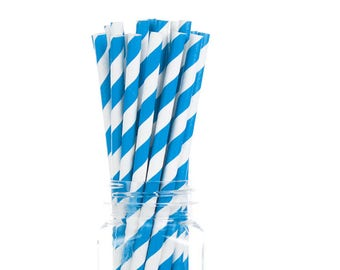 Blue Paper Straws  Set of 25 - Birthday, boy baby shower, Bridal Shower - Party Supplies & Decor (PREMIUM quality!)
