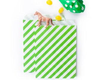Lime Green Diagonal Stripes fancy Paper Bags (Set of 12) - Goodie bags, Favor Bags, Favor Bags , First Birthday, Kids party