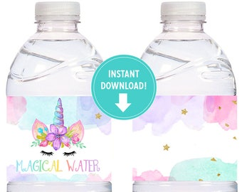 Watercolors and Gold Unicorn Labels for Water Bottles, Milk Bottles, Unicorn Birthday Party, Magical Water - Printable INSTANT Download