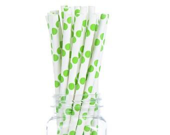 Lime Green Polka Dots Paper Straws  Set of 25 - Kids Birthday, wedding - Party Supplies & Decor (PREMIUM quality!)