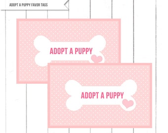"Pink Puppy Birthday Party ""Adopt a Puppy"" Favor Tags for Boxes  - Puppy Party decor - Printable Digital Design"