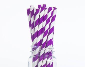 Purple Lavender Stripes Paper Straws Set of 25 - Birthday Wedding Bridal Shower - Party Supplies & Decor (PREMIUM quality!)