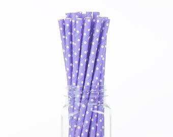 Paper Straws Lavender and White Swiss Dots - Birthday Wedding Bridal Shower - Party Supplies & Decor (PREMIUM quality!)