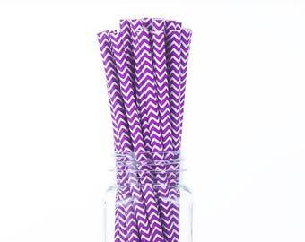 Purple Chevron Paper Straws Set of 25 - Birthday Wedding Bridal Shower - Party Supplies & Decor (PREMIUM quality!)