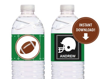 Editable Football Water Bottle Labels, Tailgate Wrappers, Buffet Table, Football Decorations, Football Birthday party - Instant Download