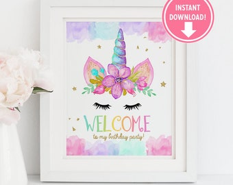 Unicorn Welcome Sign, Gold Unicorn Birthday decor, Unicorn Party Sign, Unicorn Birthday party  - Instant Download!