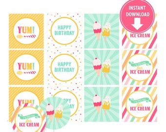Ice Cream Cupcake Toppers, Stickers, Tags , Party Decorations, Buffet Table - Ice Cream Birthday Party - Instant Download