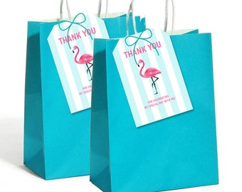 Pink & Aqua Flamingo Favor Tags for Goodie Bags and Boxes, Gift Tags, Tropical Party, Flamingo Party decor  - INSTANT Download