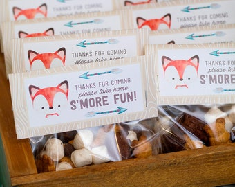 Fox Woodland Party Favors - Goodie Bag Toppers, Fox Baby Shower, Fox Party, Woodland Fox Birthday Party, Thank you tags - Printable