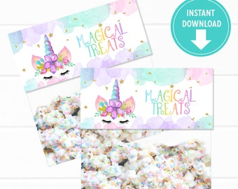 Watercolors Unicorn Bag Toppers, Thank you Tags, Bag Labels, Unicorn Treat Bags, Party Favors - Instant Download